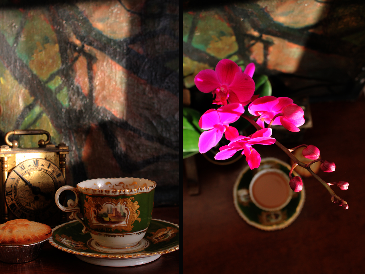 orchid and tea cup